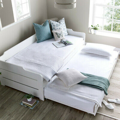 £479.97 • Buy Wooden Bed, Copella White Day Bed With Guest Bed Single With 4 Mattress Options
