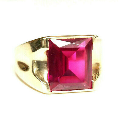 $334.95 • Buy Vintage Mens 10K Yellow Gold Large Emerald Cut Red Stone Ring - Size 11.5, 6.7g