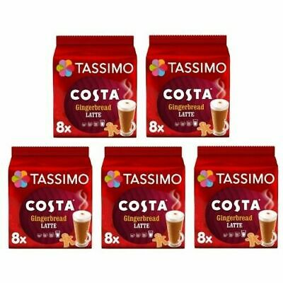 £22.99 • Buy 5 X Pack Tassimo Costa Gingerbread Latte T Discs Pods 80 T Discs 40 Large Drinks