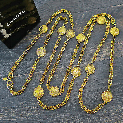 £644.27 • Buy CHANEL Gold Plated CC Cambon Charm Vintage Long Necklace Pendant #6804a Rise-on
