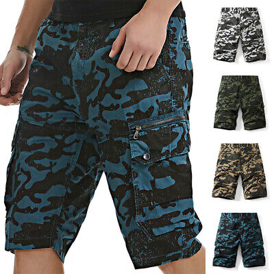$44.59 • Buy Mens Camouflage Cargo Shorts Elastic Waist Casual Army Combat Trunks Short Pants