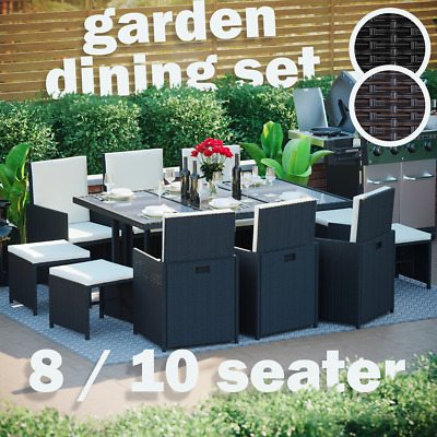 £599.95 • Buy Rattan Garden Furniture Set 8 10 Seater Chairs Cube Dining Table Outdoor Patio