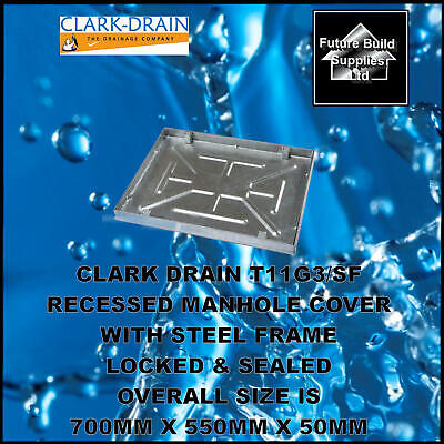 £76.11 • Buy CLARK DRAIN T11G3/SF RECESSED MANHOLE COVER & FRAME 600mmx450mmx46mm Sealed/Lock