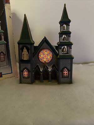 $ CDN60.73 • Buy Lemax St. Lucy's Cathedral Caddington Village Stain Glass 1999 W/ Box & Light