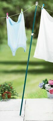 £9.49 • Buy HQ EXTENDING CLOTHES PROP WASHING LINE POLE Galvanised Heavy Duty Support 2.4M