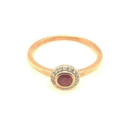 £125 • Buy 9ct Rose Gold Round Ruby And Diamond Ring, Size P