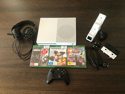AU350 • Buy Microsoft Xbox One S 1TB White Console + Controller - Headset - 3 Games - Stand