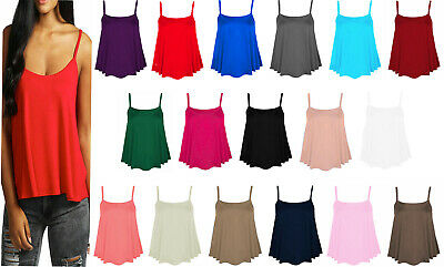£2.99 • Buy Womens Cami Tops Ladies Camisoles Vest Flared Swing Strappy Plus Size Top 8-26