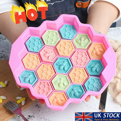£3.99 • Buy 19 Cells Silicone Bee Honeycomb Chocolate Soap Candle Bakeware Mould Molds UK ~
