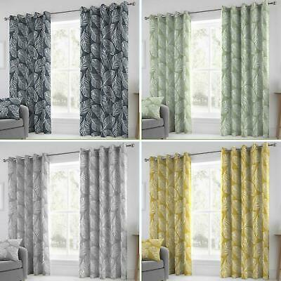 £39.95 • Buy Palm Leaf Eyelet Curtains Matteo Tropical Ready Made Lined Ring Top Curtain Pair