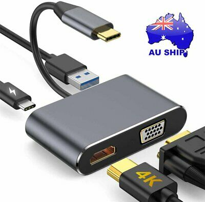 AU24.98 • Buy 4 In 1 USB-C To 4K HDMI VGA USB 3.0 Hub Adapter Cable PD Charge For Windows Mac
