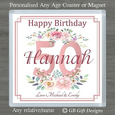 £3.45 • Buy Personalised Floral Birthday Coaster Or Magnet 18 21 30 40 50 60 70 Any Age Gift