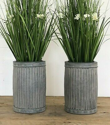 £44.95 • Buy 2 X Large Round Galvanised Ribbed Metal Dolly Planters Plant Flower Pot Garden