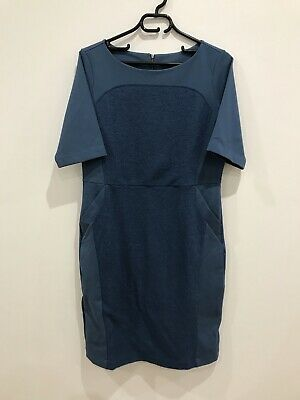 AU75 • Buy RARE New Scanlan Theodore Cotton Wool Blend Blue Fitted DRESS RRP$699 SOLD OUT