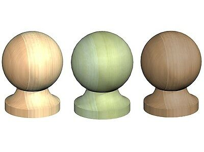 £5.85 • Buy Round Wooden Post Top Finial Ball For 3  75mm Post Cap Untreated Green Brown