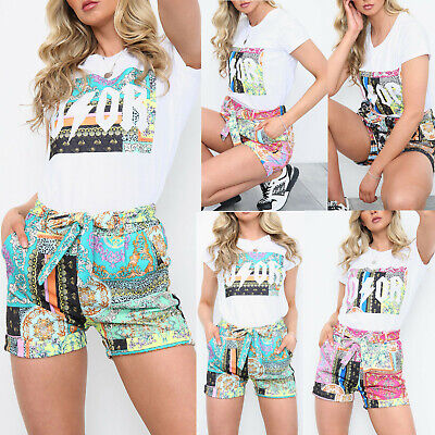 £25.95 • Buy Ladies Women's Scarf Printed T-Shirt Shorts Two Piece Summer Fashion Co Ord Set