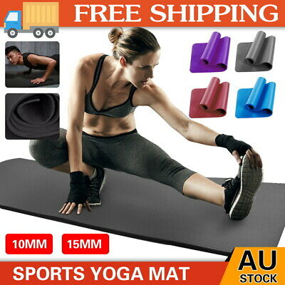 AU18.59 • Buy Thick Yoga Mat Pad 6/10/15/20MM NBR Nonslip Exercise Fitness Pilate Gym Durable