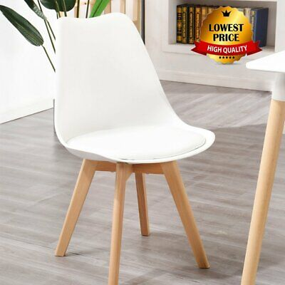 £29.10 • Buy Tulip Dining Chair, Eiffel Inspired, Solid Wood ABS Plastic Padded Seat Office