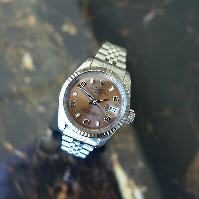 $ CDN5070.80 • Buy A Beautiful Vintage 1987 Ladies Rolex Oyster Date In Stainless Steel Pink Dial