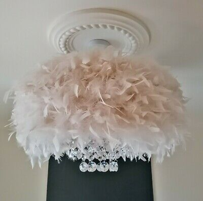 £90 • Buy Xlarge Feather Droplet Chandelier Style Glam Ceiling Lamp Shade More Colours