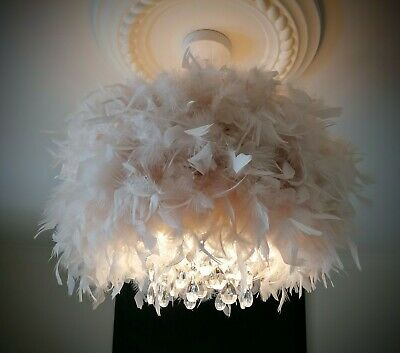 £70 • Buy 1 Feather Glam Chandelier Style Droplet Easy Fit Ceiling Light Shade Cream