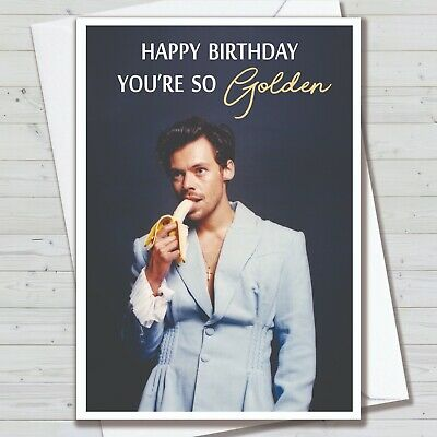 £2.99 • Buy Harry Styles Birthday Card - Greeting Card Golden Harry Styles One Direction Fan