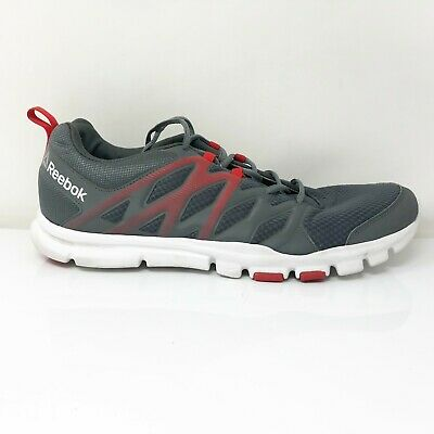 £40.45 • Buy Reebok Mens Realflex Train 4.0 CN0114 Gray Red Running Shoes Lace Up Size 12