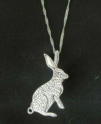 £5.50 • Buy Rabbit Hare Pendant Brooch / Silver Chain Necklace.