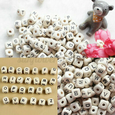 £5.63 • Buy 100PC Natural Mixed Wooden Alphabet Letter Cube Craft Charms Beads 10mm