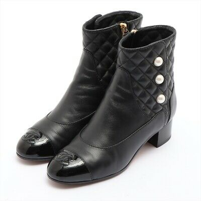£596.13 • Buy Chanel COCO Mark Matelasse Leather Short Boots 36C Ladies Black Pearl Button