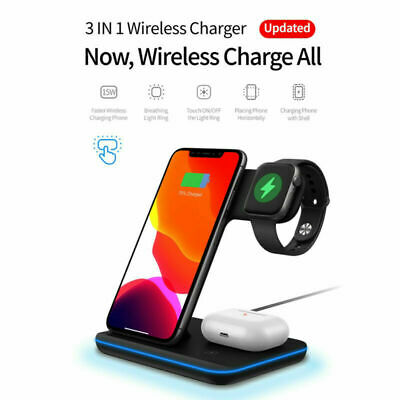 AU18.41 • Buy AU 3in1 15W Qi Wireless Charger Dock Charging Stand For IWatch IPhone 12 Pro 11