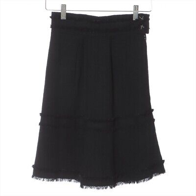 £214.52 • Buy Chanel COCO Button 07A Tweed Skirt 34 Ladies Black