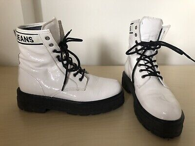 £65 • Buy Tommy Jeans Patent Womens White Black Leather Flatform Boots Size 6