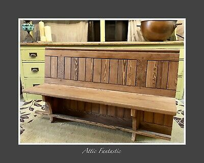 £160 • Buy Pitch Pine Reclaimed Church Pew Salvage Section Hallway Kitchen Table Bench 1870