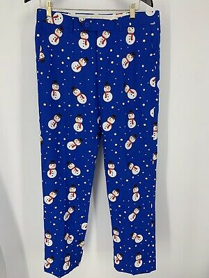 $15.48 • Buy SUITMEISTER Mens Christmas Snowman  PANTS Dress Party Size 32 No Brand Tag Look