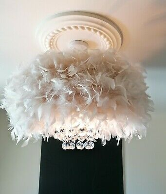 £90 • Buy Xlarge Feather Droplet Chandelier Style Glam Ceiling Lamp Shade Easy Fit Cream