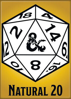 AU31.46 • Buy Dungeons And Dragons Natural 20 3.5 X 2.5 Magnet