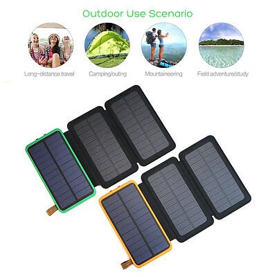 AU56.99 • Buy 300000mAh Waterproof Solar Power Bank 2 USB External Battery Charger For Phone