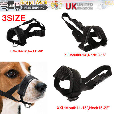 £4.99 • Buy 3Size Adjustable Nylon Pet Dog Mask Bite Soft Mouth Muzzle Grooming Stop Chewing