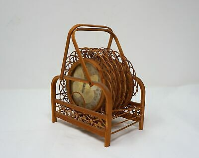 £10.62 • Buy Vintage Bamboo Wood Pressed Butterfly Coasters Rattan Wicker ~ 7 Pc. Set