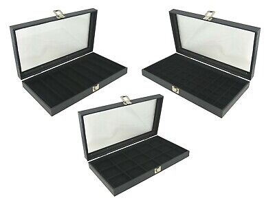£19.99 • Buy Glass Lid Display Case With Black Flocked Jewellery Display Compartment Insert