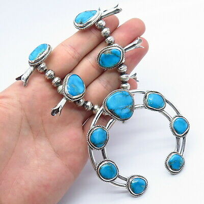 $ CDN248.38 • Buy Old Pawn Sterling Silver Turquoise Navajo Pearls Squash Blossom Tribal Necklace