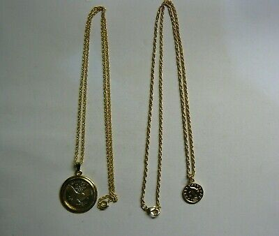 £20 • Buy JOB LOT 2 X GOLD TONE COINS STYLE PENDANT WITH GOLD PLATED NECKLACE CHAINS