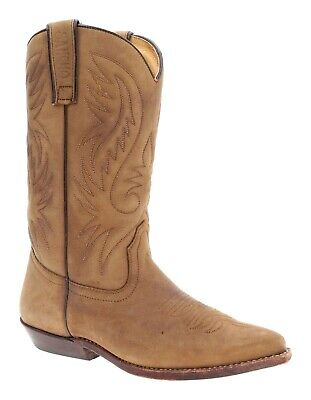 £21.72 • Buy SANCHO Cowboy Boots 7 M Womens EU 37 Brown Leather WESTERN Rodeo Boots Ankle