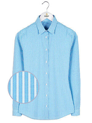 £7.99 • Buy Disley Heritage Iona Tailored Fit Blue/White Striped Long Sleeve Shirt - BNWT