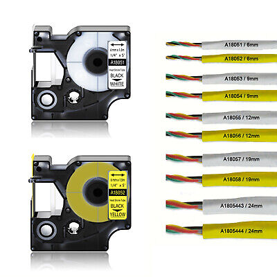 £10.99 • Buy Black Ink White Yellow Heat Shrink Tube Wire Cable Label Tape For DYMO Rhino