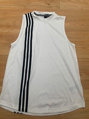 £0.99 • Buy Womens Adidas Must Haves 3-Stripes Tank Top Vest White Gym Running UK 8-10 Small