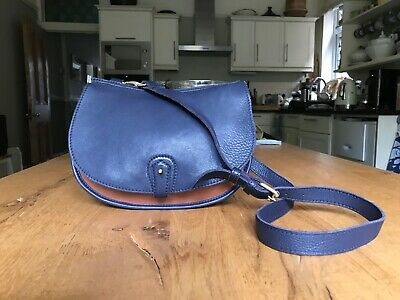 £20 • Buy Toast Navy And Tan Leather Saddle Bag