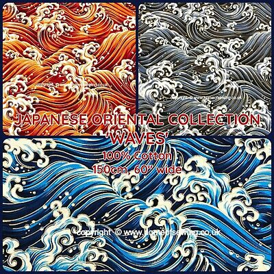 £4.99 • Buy Fabric Freedom Japanese Oriental - Waves -craft Cotton - 60  150cm Wide