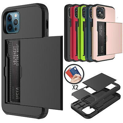 AU13.99 • Buy For IPhone 12 11 Pro Max Mini XS XR Shockproof Card Holder Wallet Cover Case